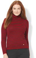 Lauren by Ralph Lauren Plus Size Metallic-striped Turtleneck Sweater - Lyst