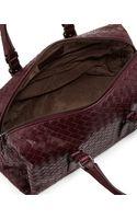 Bottega Veneta New Boston Medium Tophandle Bag Dark Purple - Lyst