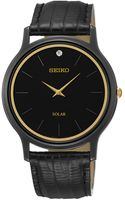 Seiko Mens Black Plated Watch with Leather Strap - Lyst