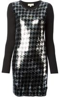 Michael Kors Houndstooth Sequins Embroidered Dress - Lyst