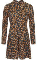 Topshop Roll Neck Animal Swing Dress - Lyst