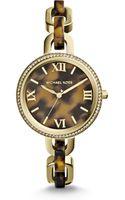 Michael Kors Tortoiselook Sparkle Link Bracelet Watch - Lyst