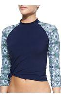 Tory Burch Laguna Printed-sleeve Surf Shirt - Lyst