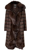 Ferragamo Wool-mohair-alpaca Coat with Fox Fur Front - Lyst