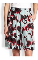 See By Chloé Artichokeprint Pleated Midi Split Skirt - Lyst