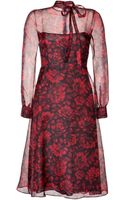 Valentino Silk Organza Floral Print Dress in Blackred - Lyst