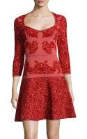 Zac Posen Three-quarter Sleeve Jacquard Dress - Lyst