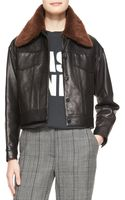 3.1 Phillip Lim Western Leather Jacket with Removable Fur Collar - Lyst