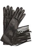 Prada Black Lambskin Studded Fringe Gloves - Lyst