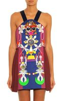 Mary Katrantzou Clocktopia-print Satin-wool Dress - Lyst