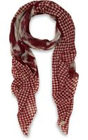 Me And Kashmiere Burgundy Cloud Check Print Cashmere Scarf - Lyst