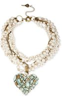 Betsey Johnson Brasstone Faux Pearl and Multichain Heart Pendant Necklace - Lyst