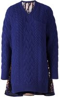 Sacai Panelled Cable Knit Sweater - Lyst