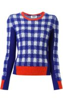 Sonia Rykiel Check Pattern Contrasting Panels Sweater - Lyst