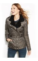 Vince Camuto Fauxfurtrim Belted Quilted Coat - Lyst