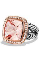 David Yurman Albion Ring with Diamonds in Rose Gold 14mm Gemstone - Lyst