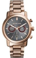 Michael Kors Midsize Rose Golden Stainless Steel Pennant Chronograph Watch - Lyst