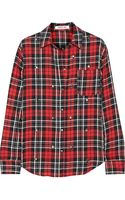 Elizabeth And James Carine Embellished Plaid Cotton Blend Shirt - Lyst