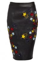 Matthew Williamson 3d Star Stretch Leather Embroidered Pencil Skirt - Lyst