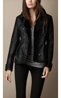 Burberry Shearling Peplum Jacket - Lyst
