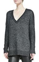 Vince Metallic V-neck Knit Sweater Black Petite - Lyst