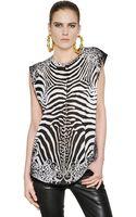 Balmain Zebra Printed Cotton Tshirt - Lyst
