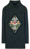 Mary Katrantzou Metallicknit Sweater with Appliqué - Lyst