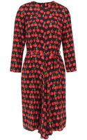 Peter Jensen Cherry Silk Dress with Pintuck Detail - Lyst