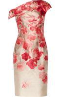 Lela Rose Draped Printed Wool-blend Dress - Lyst