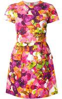 Valentino Rose Print Flared Dress - Lyst