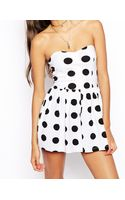 Asos Bandeau Playsuit in Spot Print - Lyst