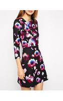 Asos A-line Scuba Dress with Long Sleeves in Petal Floral - Lyst