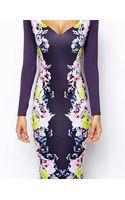 Asos Floral Mirror Print Pencil Dress - Lyst