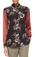 Jason Wu Long-sleeve Floralpaisley Silk Blouse - Lyst