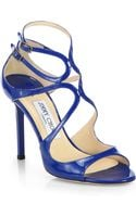 Jimmy Choo Lang Strappy Patent Leather Sandals - Lyst