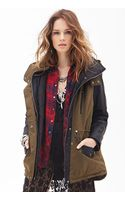 Forever 21 Faux Leather  Canvas Coat - Lyst
