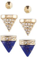 Rachel Rachel Roy Goldtone Lapis Crystal Spike Stud Earring Set - Lyst