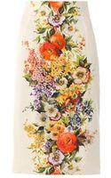 Dolce & Gabbana Floral Print Silk Blend Pencil Skirt - Lyst