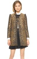 RED Valentino Jacquard Leopard Bow Coat Fire Brick - Lyst