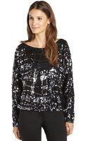 Rachel Zoe Black Woven Tear Drop Sequin Holly Long Dolman Sleeve Top - Lyst