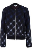 Kenzo Grey Fire Motif Warped Check Bomber Jacket - Lyst