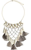Topshop Feather and Stone Necklace - Lyst