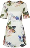 Topshop Tall Rose Blue Satin A-line Dress - Lyst