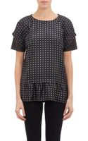 Thakoon Addition Heart Print Peplum Top with Leather Accents - Lyst