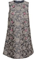 Dolce & Gabbana Brocade Dress with Crystal Buttons - Lyst