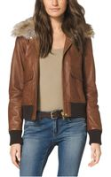 Michael Kors Furtrimmed Leather Bomber Jacket - Lyst