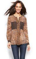 Michael Kors Petite Animalprint Colorblocked Zippered Blouse - Lyst