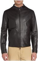 Giorgio Armani Perforated Leather Bomber Jacket - Lyst