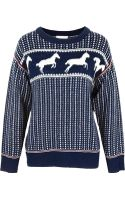 Band Of Outsiders Fair Isle Horses Drop Shoulder Sweater Navy - Lyst