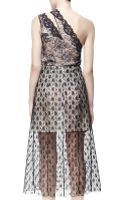 Stella McCartney Oneshoulder Rosebud Lace Dress Black - Lyst